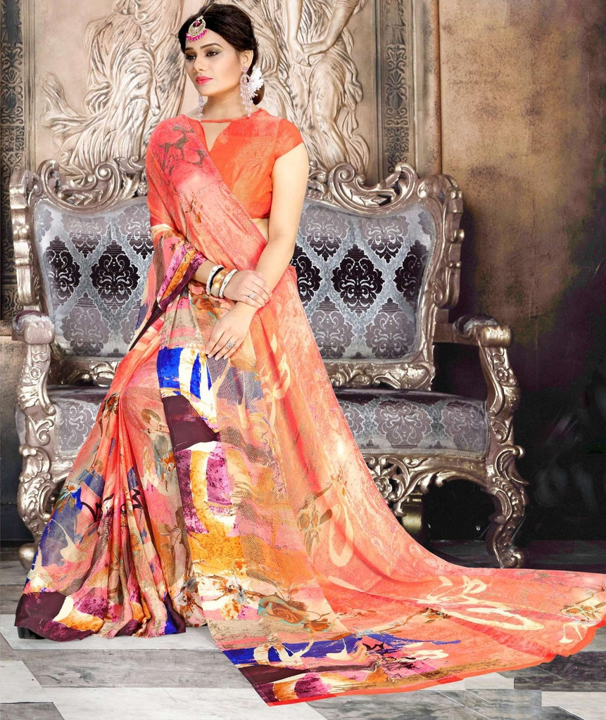 Pink Color Chiffon Designer Kitty Party Sarees : Minri Collection  NYF-1224 - YellowFashion.in