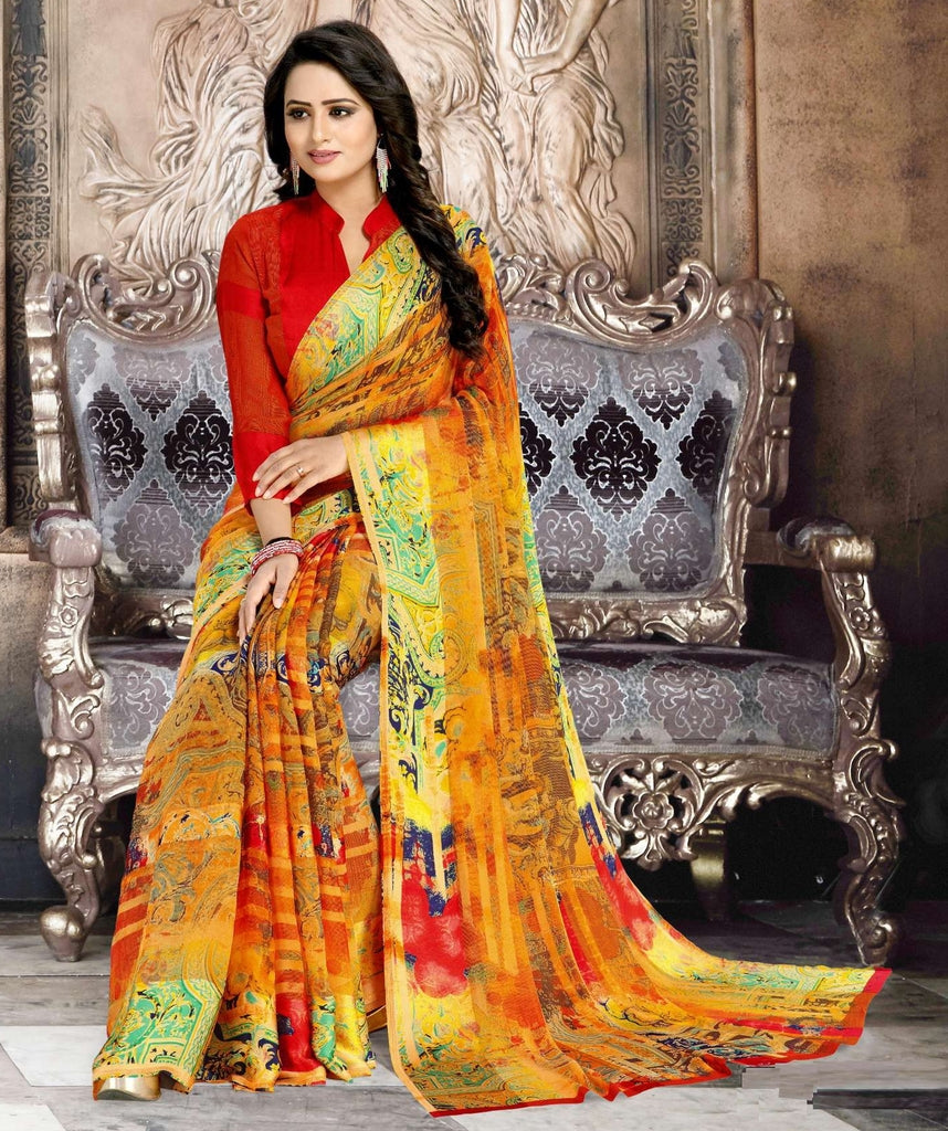 Orange Color Chiffon Designer Kitty Party Sarees : Minri Collection  NYF-1226 - YellowFashion.in