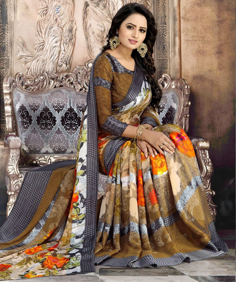 Multi Color Chiffon Designer Kitty Party Sarees : Minri Collection  NYF-1227 - YellowFashion.in