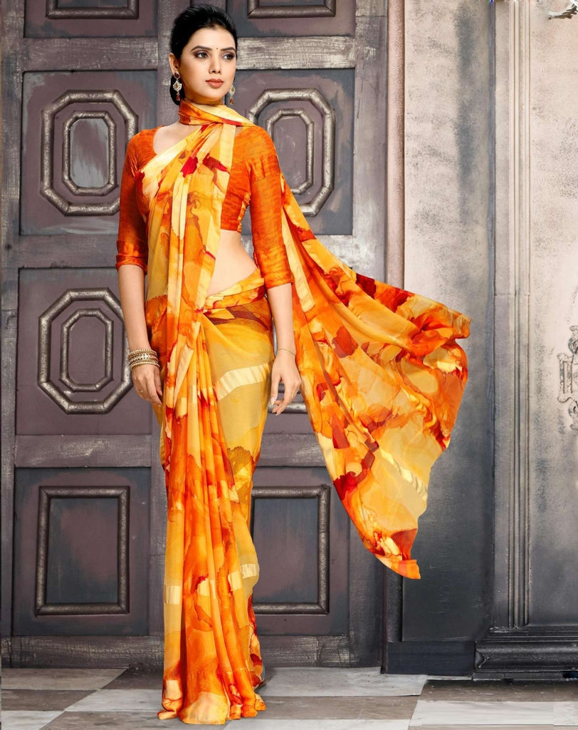 Shades Of Orange Color Georgette Designer Kitty Party Sarees : Minri Collection  NYF-1228 - YellowFashion.in
