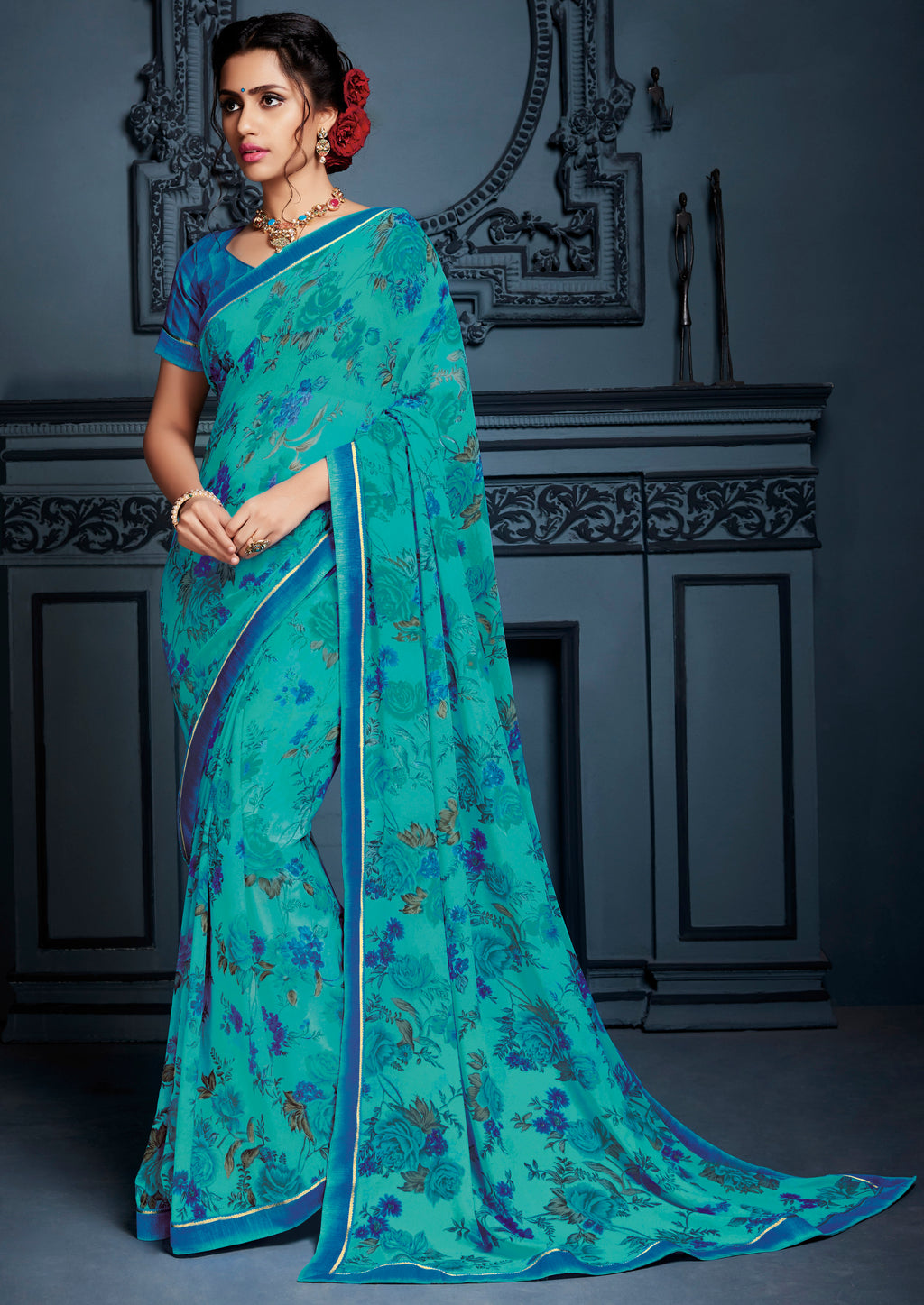Aqua Blue Color Georgette Kitty Party Sarees NYF-8572