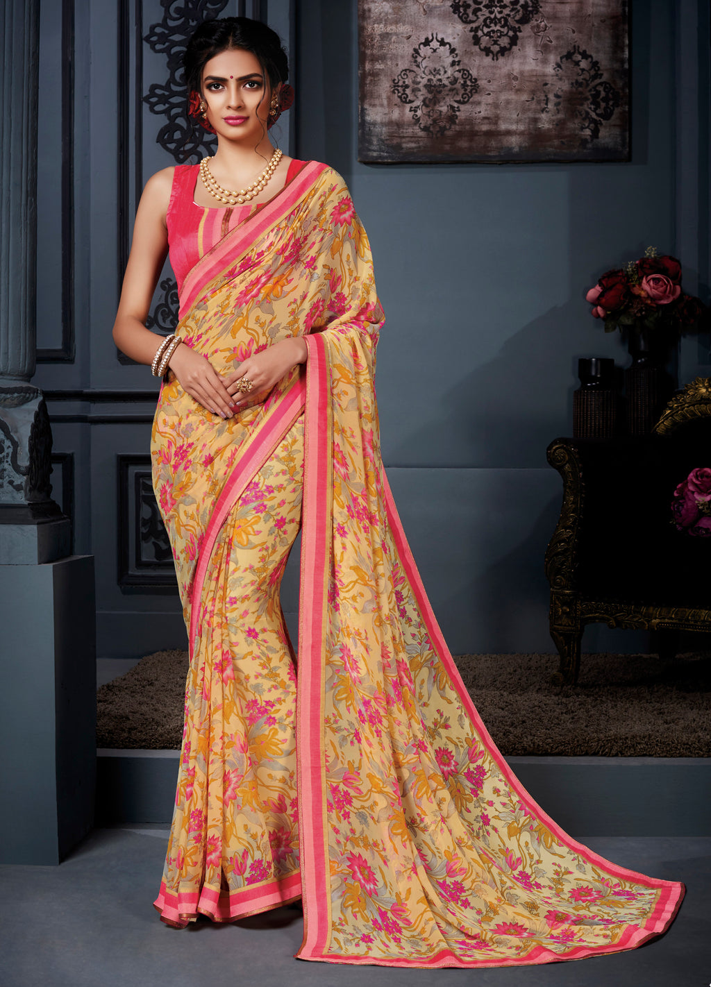 Yellow Color Georgette Kitty Party Sarees NYF-8573