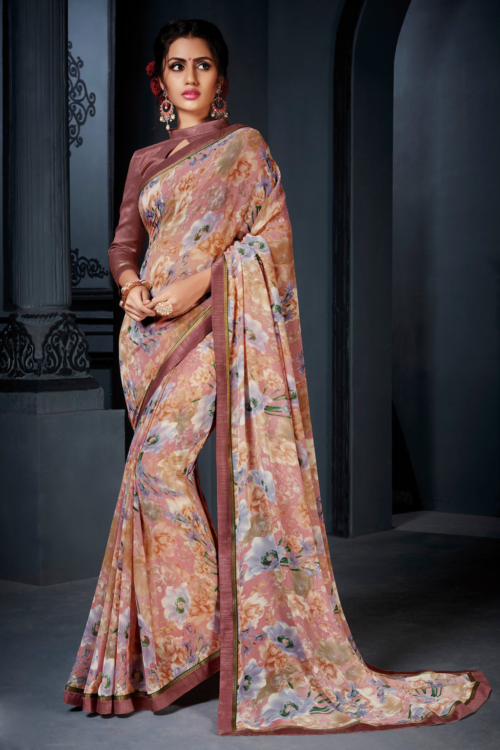Beige Color Georgette Kitty Party Sarees NYF-8574