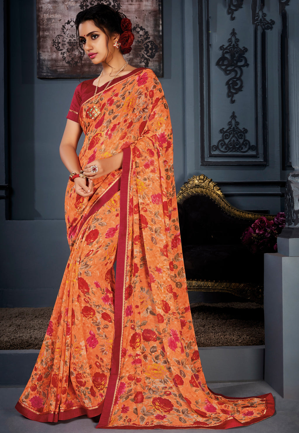 Orange Color Georgette Kitty Party Sarees NYF-8575