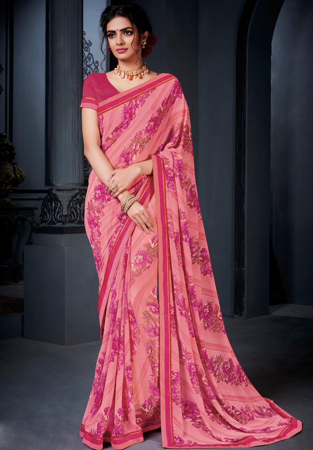 Pink Color Georgette Kitty Party Sarees NYF-8577