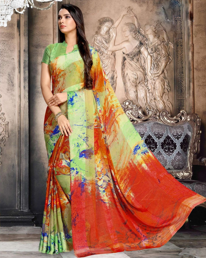 Green & Brick Red Color Chiffon Designer Kitty Party Sarees : Minri Collection  NYF-1230 - YellowFashion.in