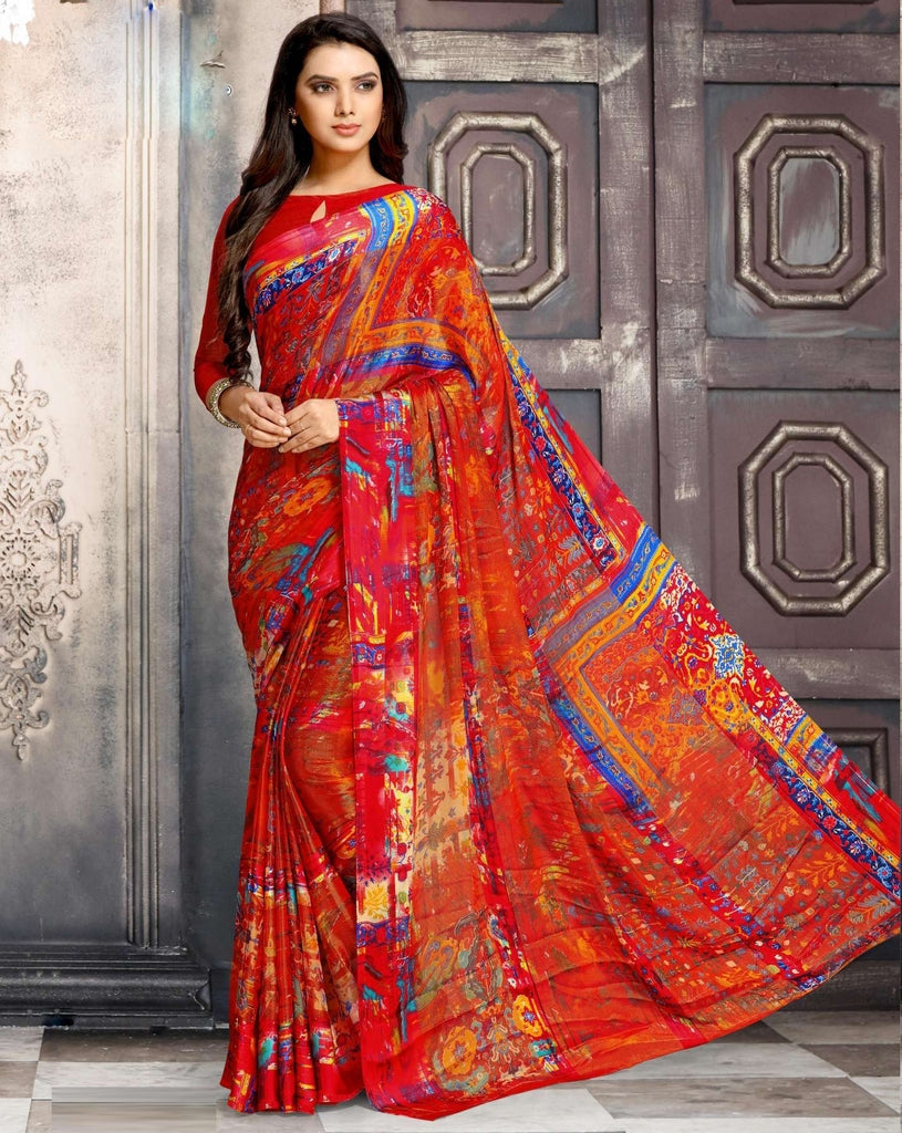 Red Color Georgette Designer Kitty Party Sarees : Minri Collection  NYF-1231 - YellowFashion.in