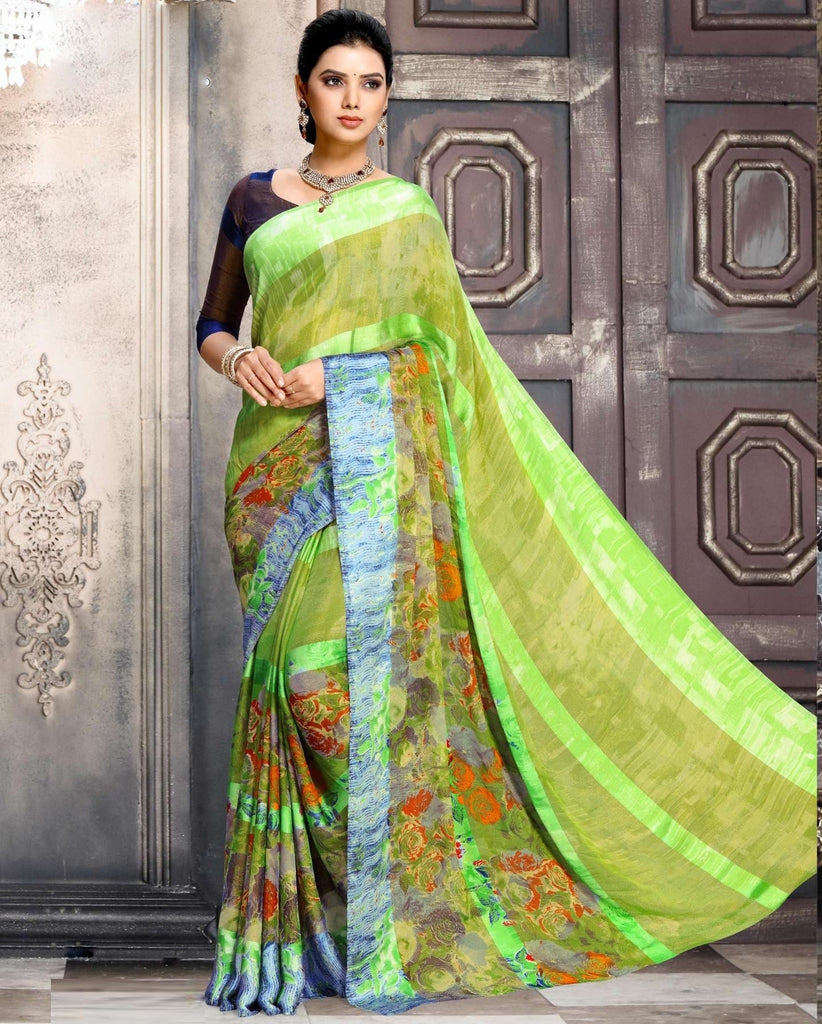 Green Color Chiffon Designer Kitty Party Sarees : Minri Collection  NYF-1233 - YellowFashion.in