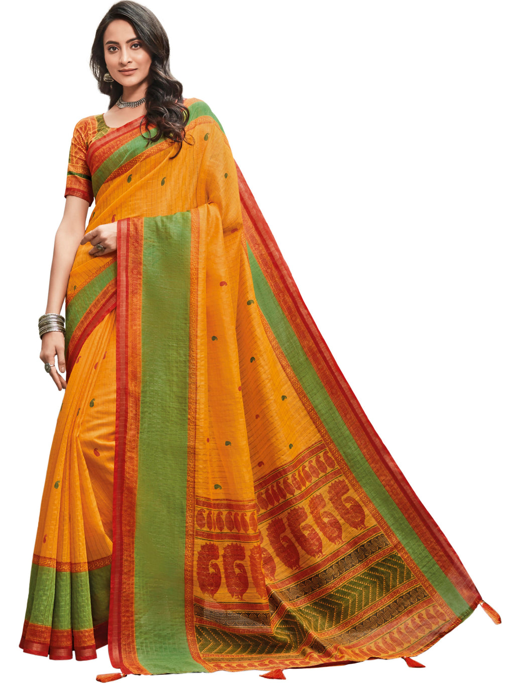 Yellow Color Cotton Festive & Function Wear Sarees NYF-8497