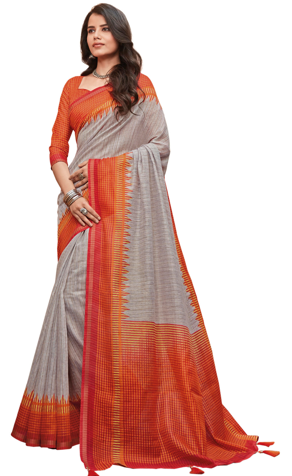 Grey  Color Cotton Festive & Function Wear Sarees NYF-8498