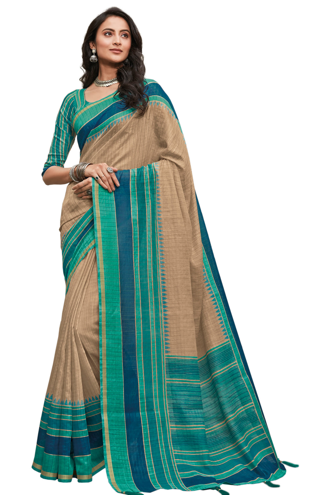 Beige Color Cotton Festive & Function Wear Sarees NYF-8499