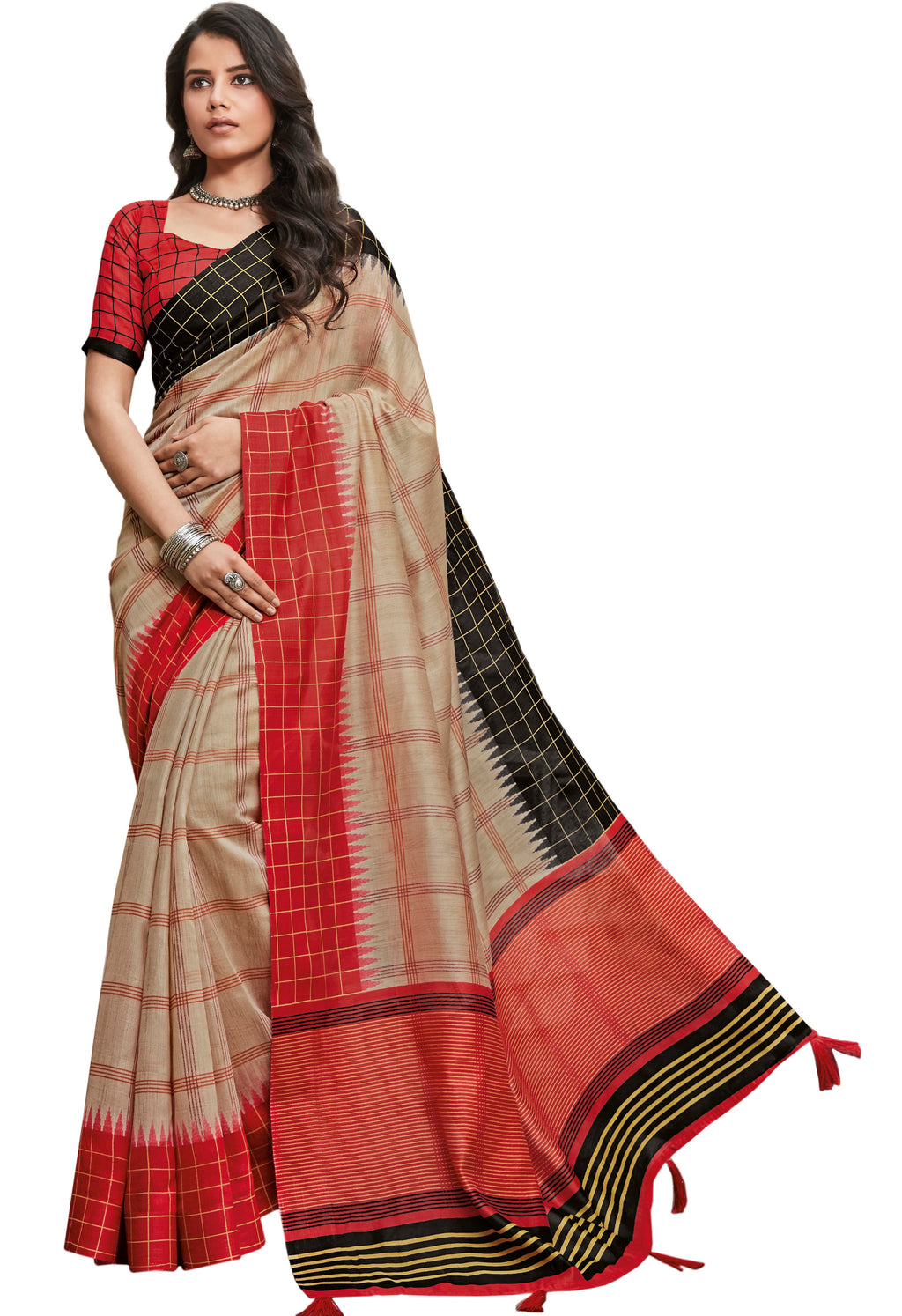 Beige & Red Color Cotton Festive & Function Wear Sarees NYF-8500