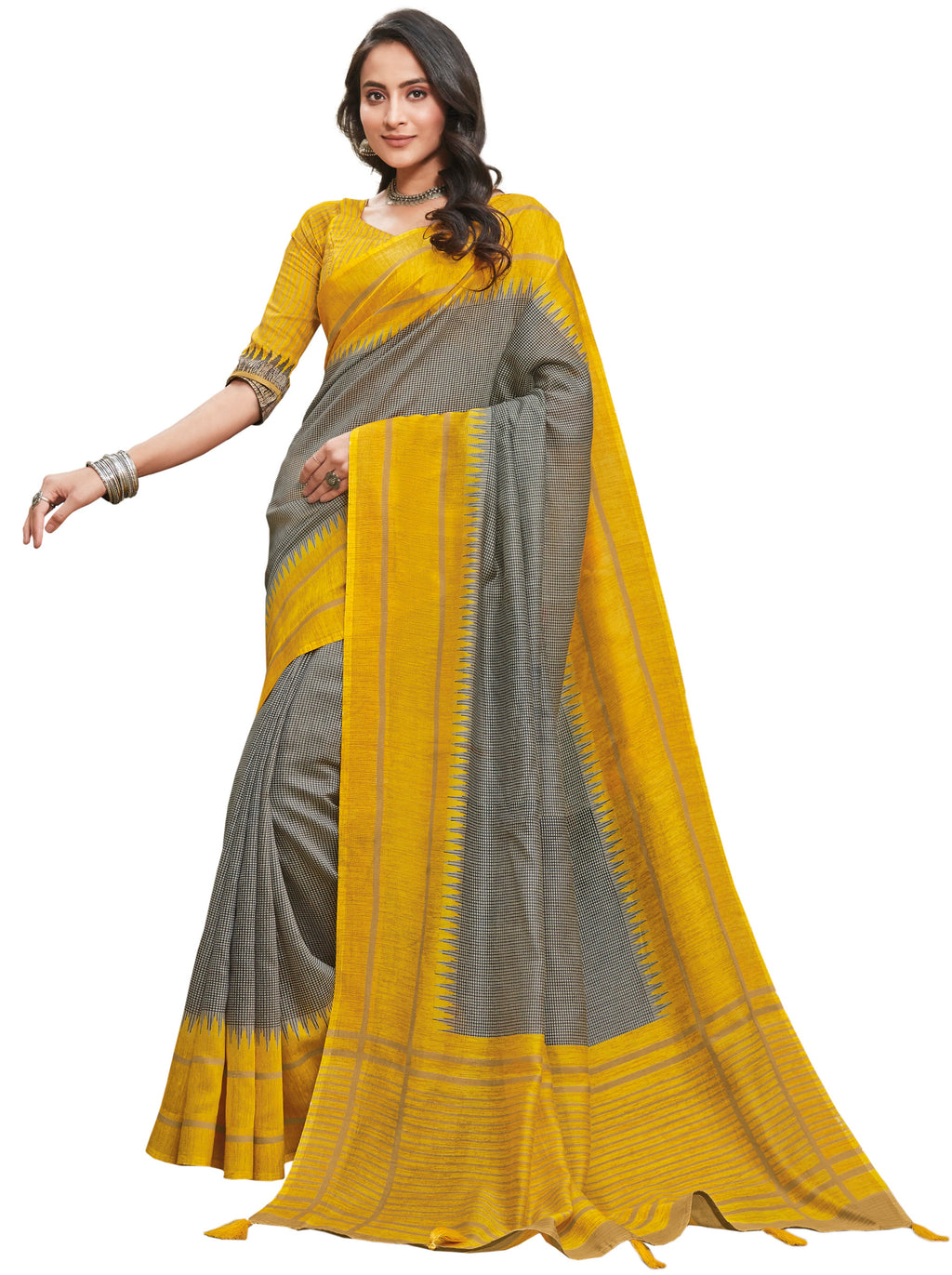 Grey & Yellow Color Cotton Festive & Function Wear Sarees NYF-8501