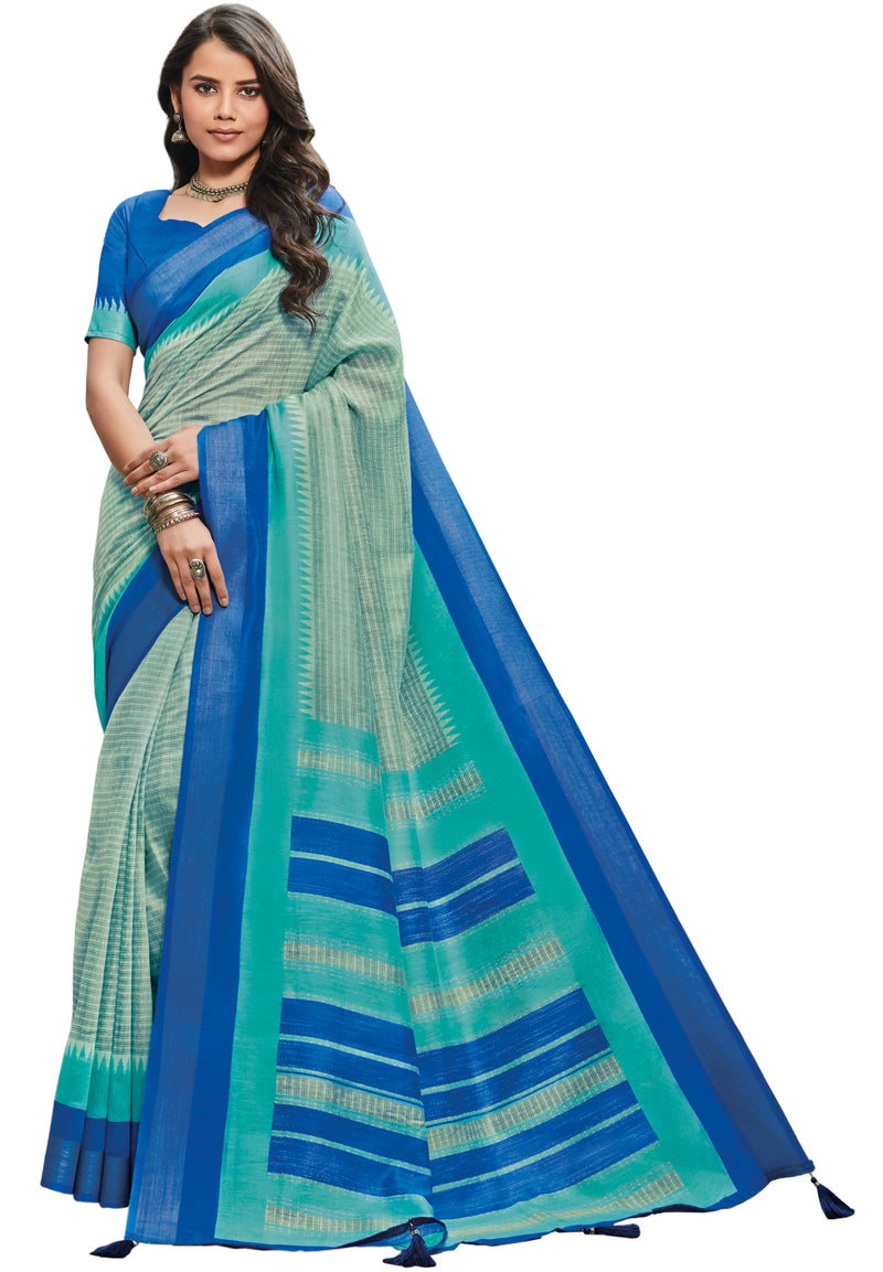 Blue & Aqua Green Color Cotton Festive & Function Wear Sarees NYF-8502