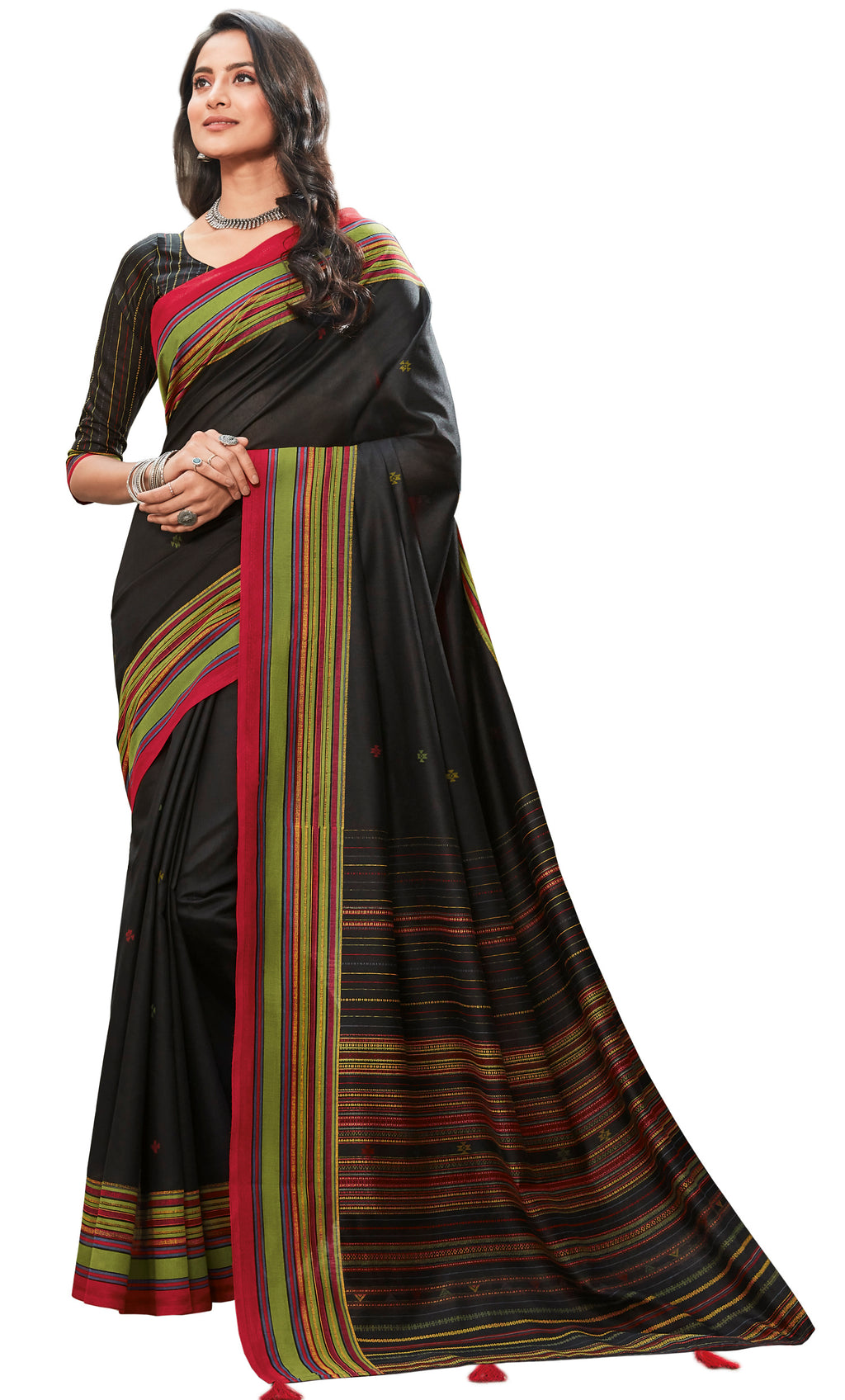 Black Color Cotton Festive & Function Wear Sarees NYF-8504