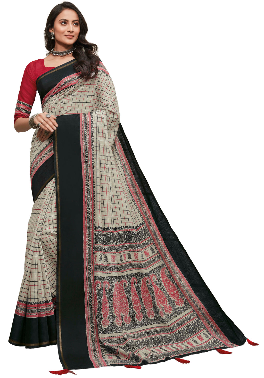 Off White & Black Color Cotton Festive & Function Wear Sarees NYF-8506