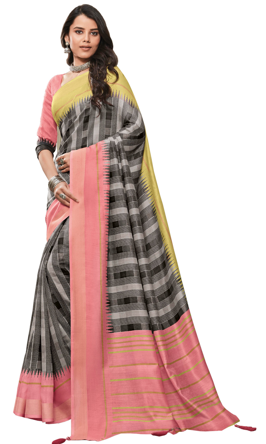 Black & White Color Cotton Festive & Function Wear Sarees NYF-8507