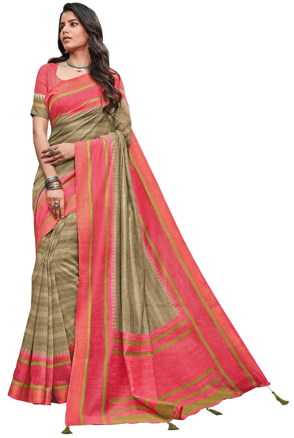 Beige Color Cotton Festive & Function Wear Sarees NYF-8508