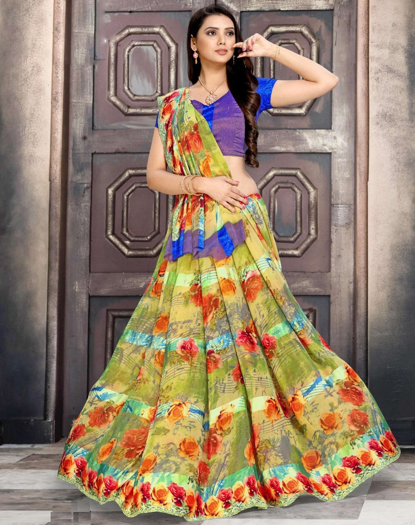 Green Color Chiffon Designer Kitty Party Sarees : Minri Collection  NYF-1241 - YellowFashion.in