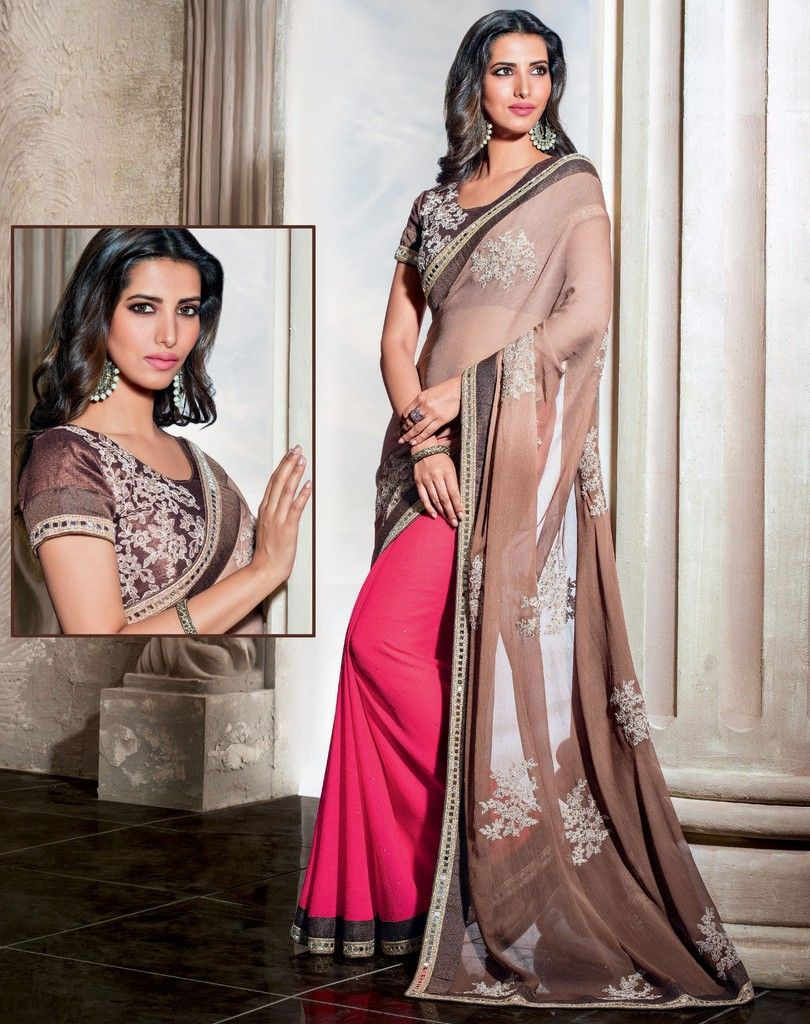Light Brown & Pink Color Half Tissue & Half Wrinkle Chiffon Designer Festive Sarees : Karini Collection  NYF-1250 - YellowFashion.in