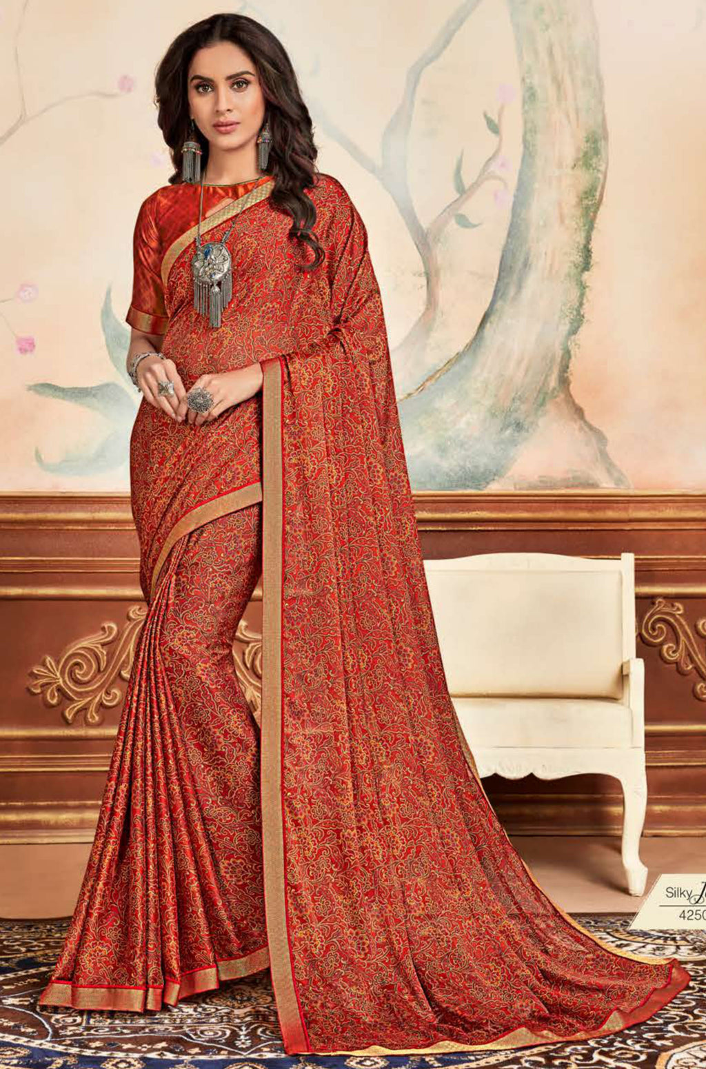 Orange Color Crepe Chiffon Casual Party Sarees NYF-8580