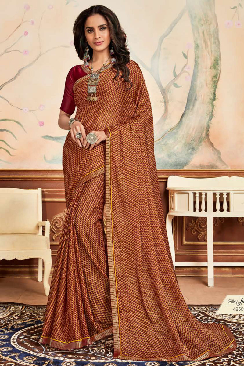 Maroon & Yellow Color Crepe Chiffon Casual Party Sarees NYF-8582