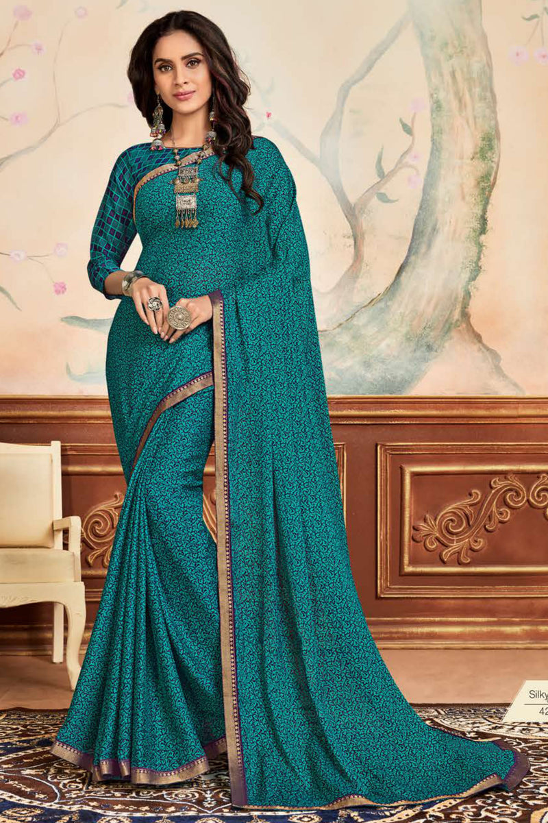 Blue & Green Color Crepe Chiffon Casual Party Sarees NYF-8584