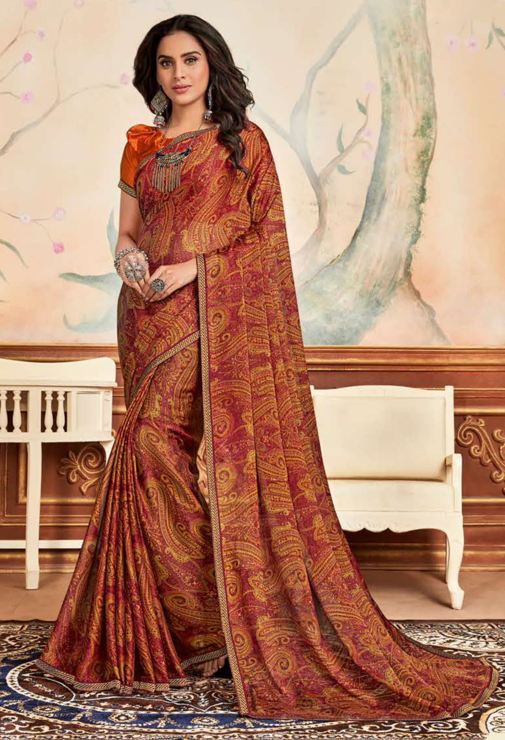 Maroon  Color Crepe Chiffon Casual Party Sarees NYF-8585