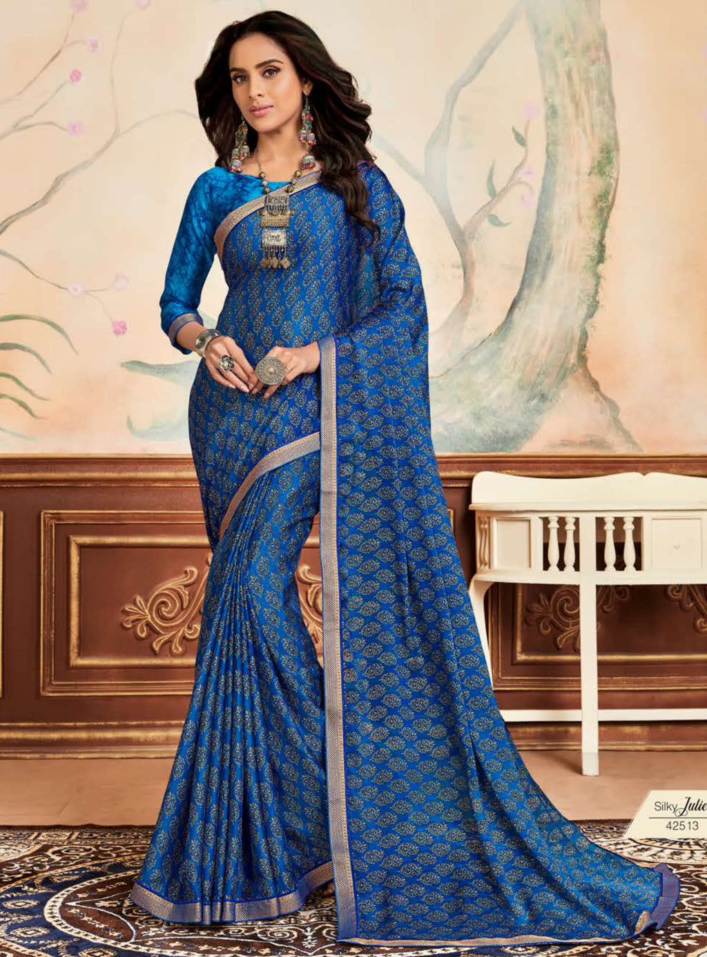 Blue Color Crepe Chiffon Casual Party Sarees NYF-8586