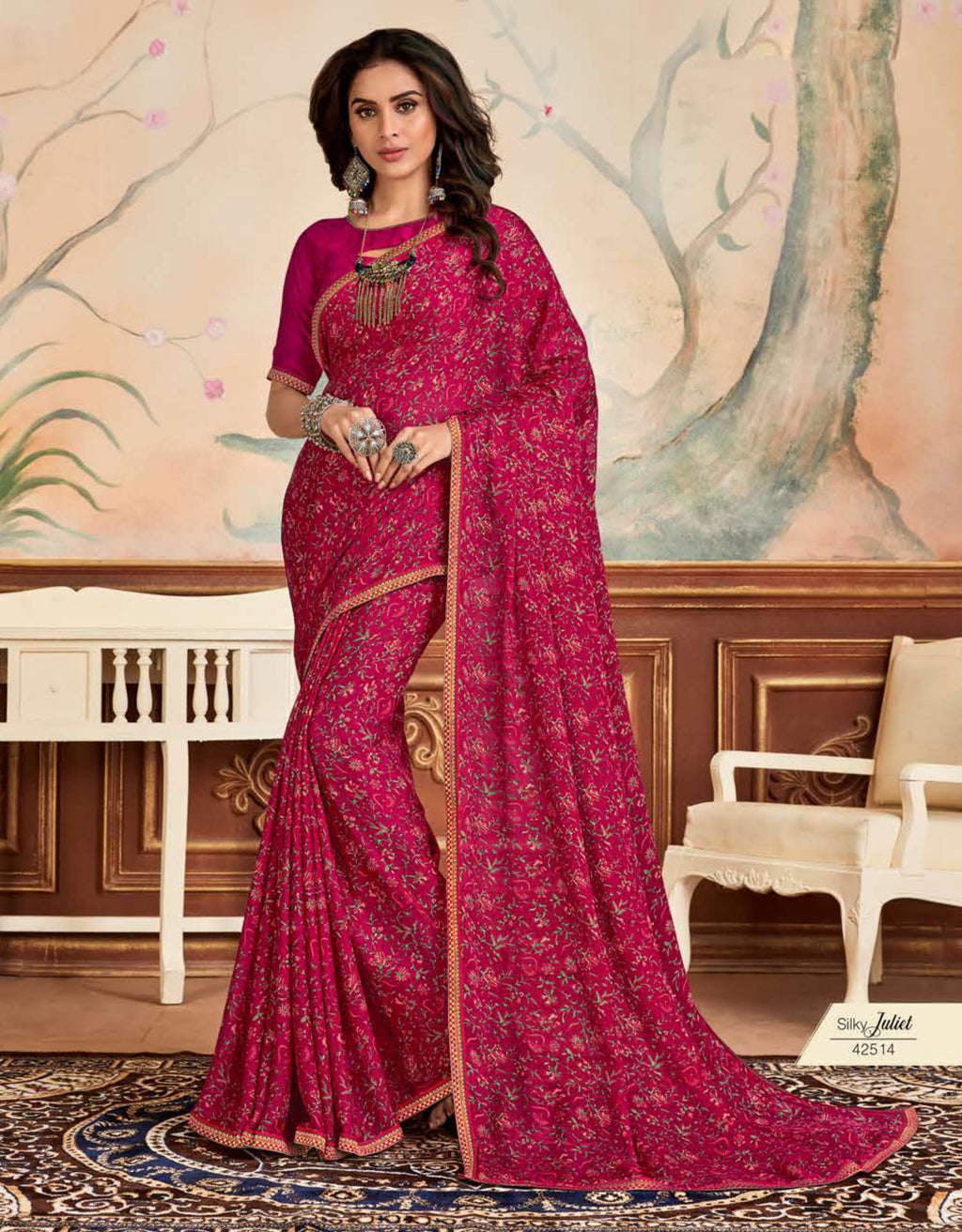 Rani Pink Color Crepe Chiffon Casual Party Sarees NYF-8587