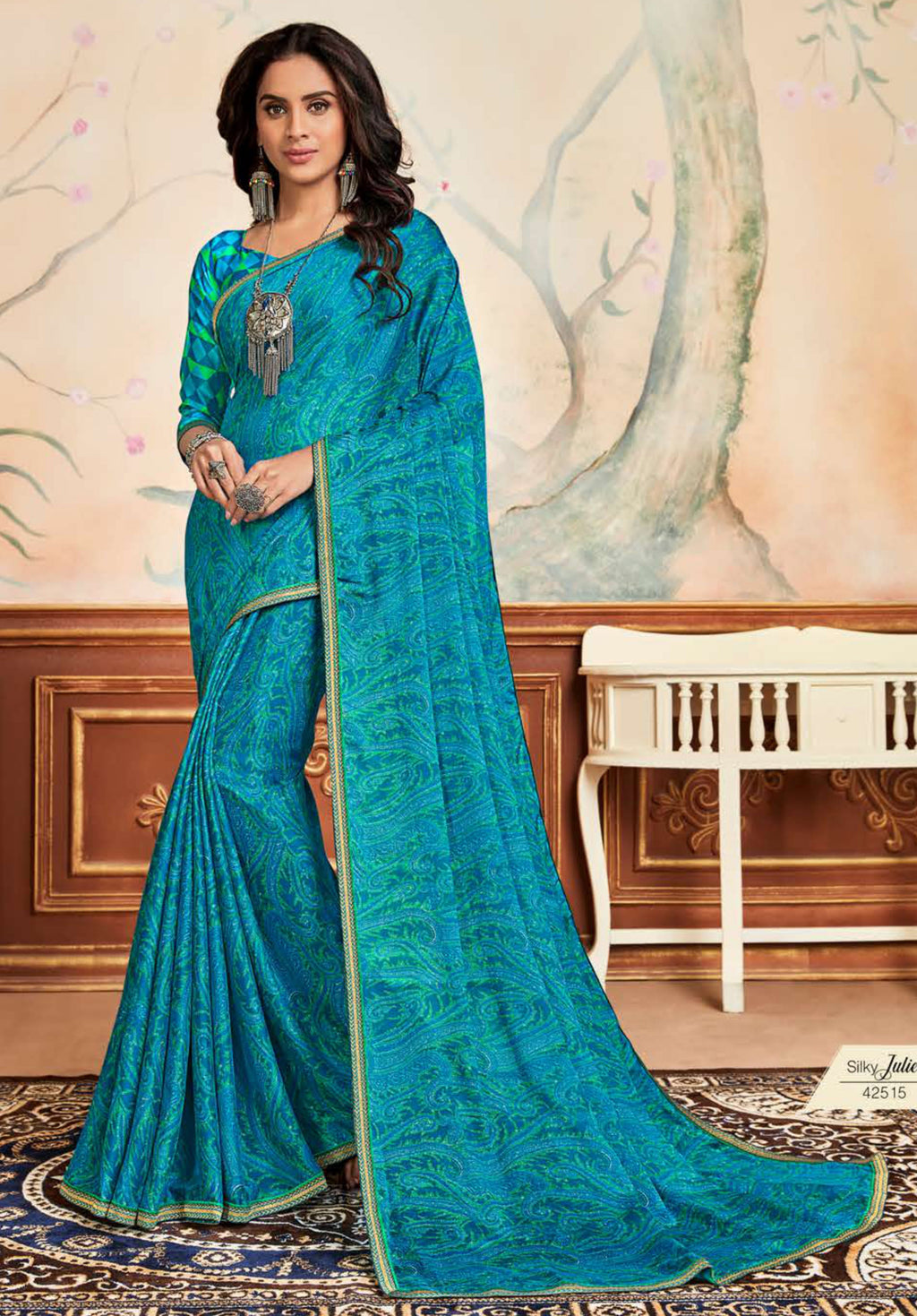 Firozi Color Crepe Chiffon Casual Party Sarees NYF-8588