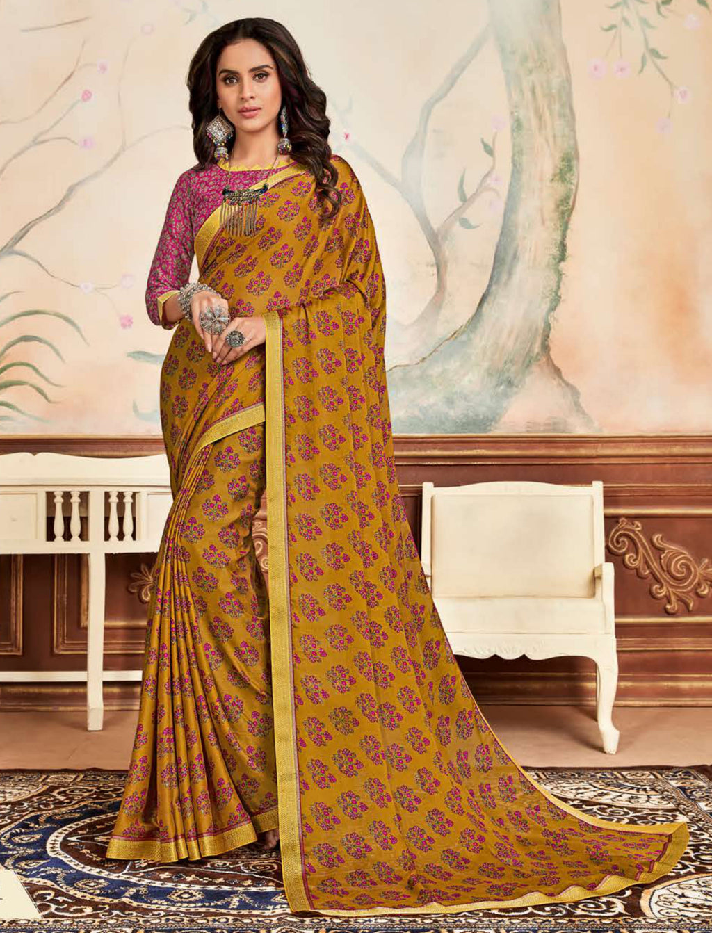 Mustard Yellow Color Crepe Chiffon Casual Party Sarees NYF-8589