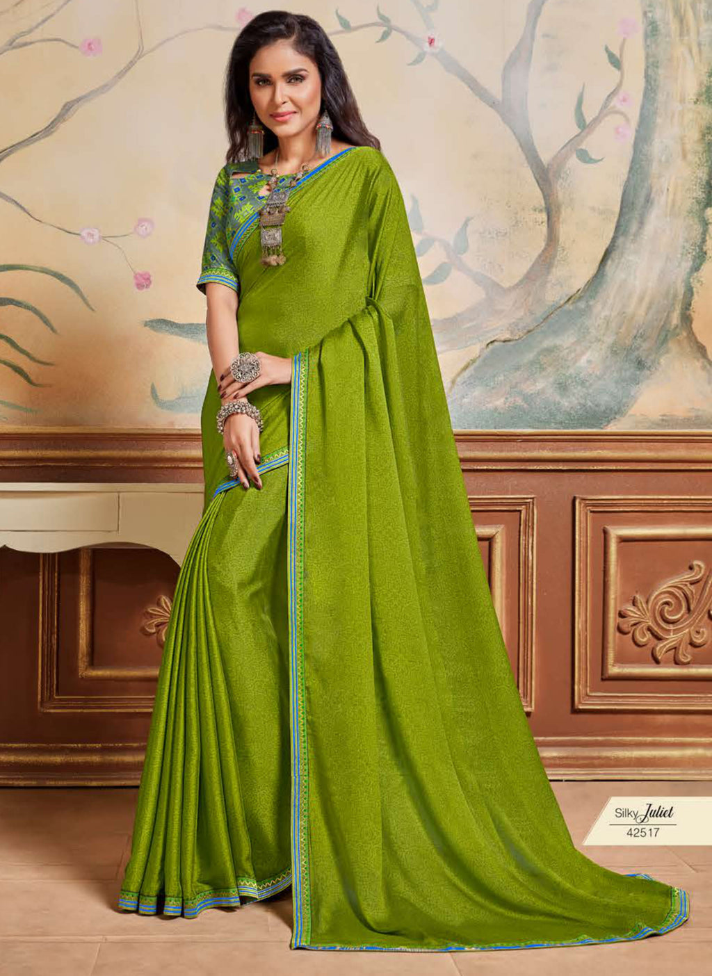 Leaf Green Color Crepe Chiffon Casual Party Sarees NYF-8590