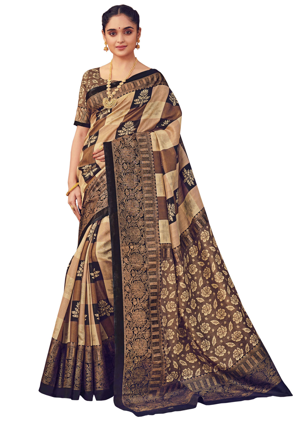 Beige & Brown Color Bhagalpuri Festive & Party Wear Sarees NYF-8640