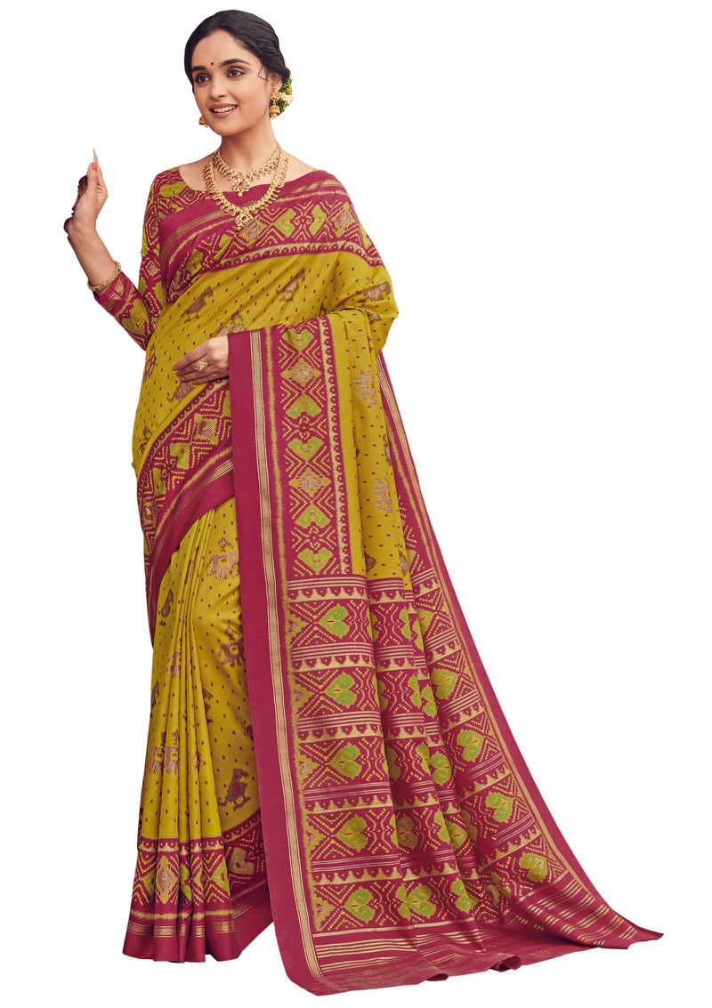 Yellow & Pink Color Bhagalpuri Festive & Party Wear Sarees NYF-8642