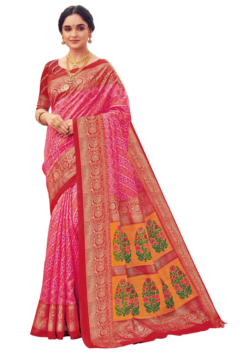 Pink & Red Color Bhagalpuri Festive & Party Wear Sarees NYF-8643