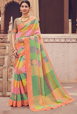 Multi Color Bhagalpuri Silk Function wear Saree-Selvi Collection YF#10090