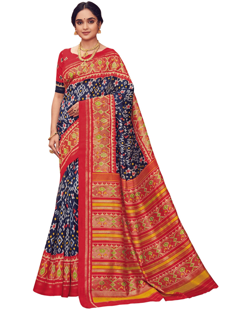 Blue & Red Color Bhagalpuri Festive & Party Wear Sarees NYF-8645