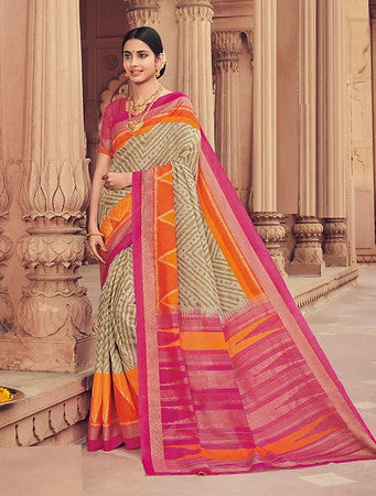 Cream and Pink Color Bhagalpuri Silk Function wear Saree-Selvi Collection YF#10092