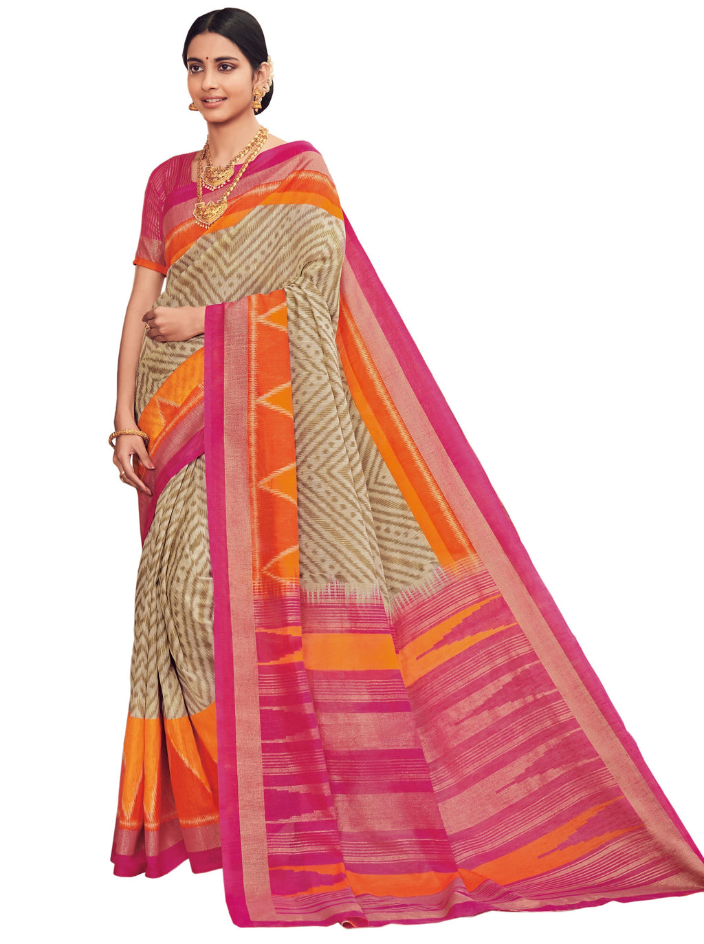 Cream & Pink Color Bhagalpuri Festive & Party Wear Sarees NYF-8646