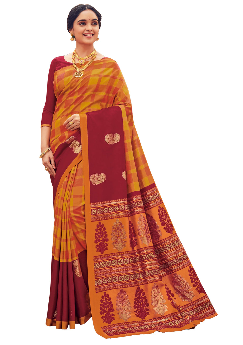 Yellow & Maroon Color Bhagalpuri Festive & Party Wear Sarees NYF-8647
