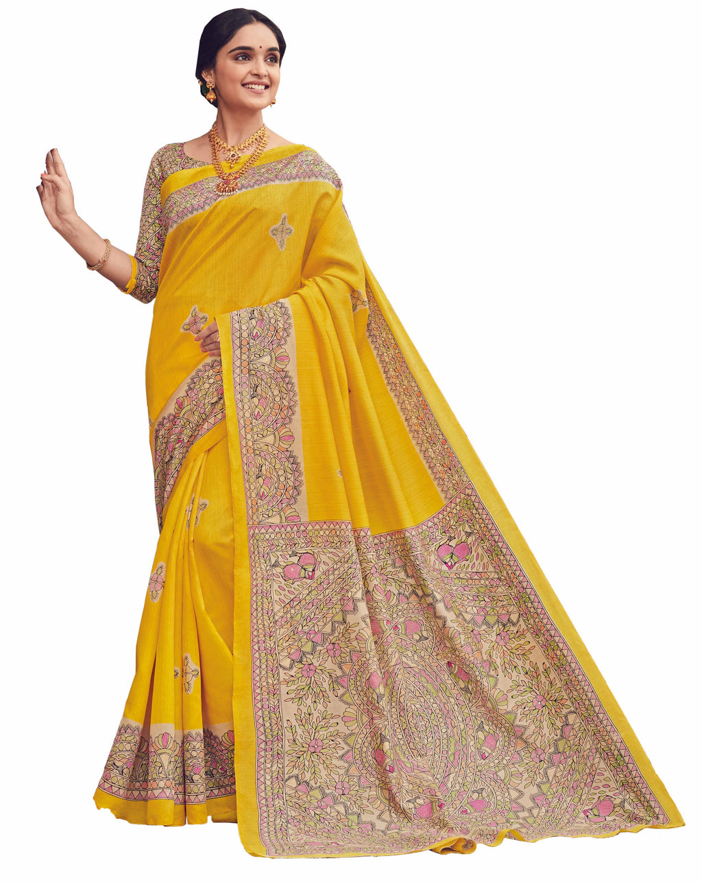 Yellow Color Bhagalpuri Festive & Party Wear Sarees NYF-8649