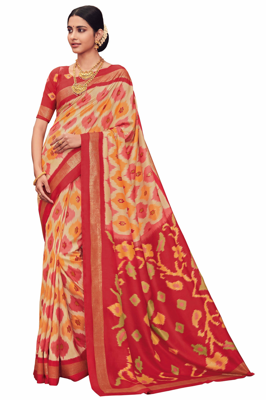 Red & Cream Color Bhagalpuri Festive & Party Wear Sarees NYF-8650