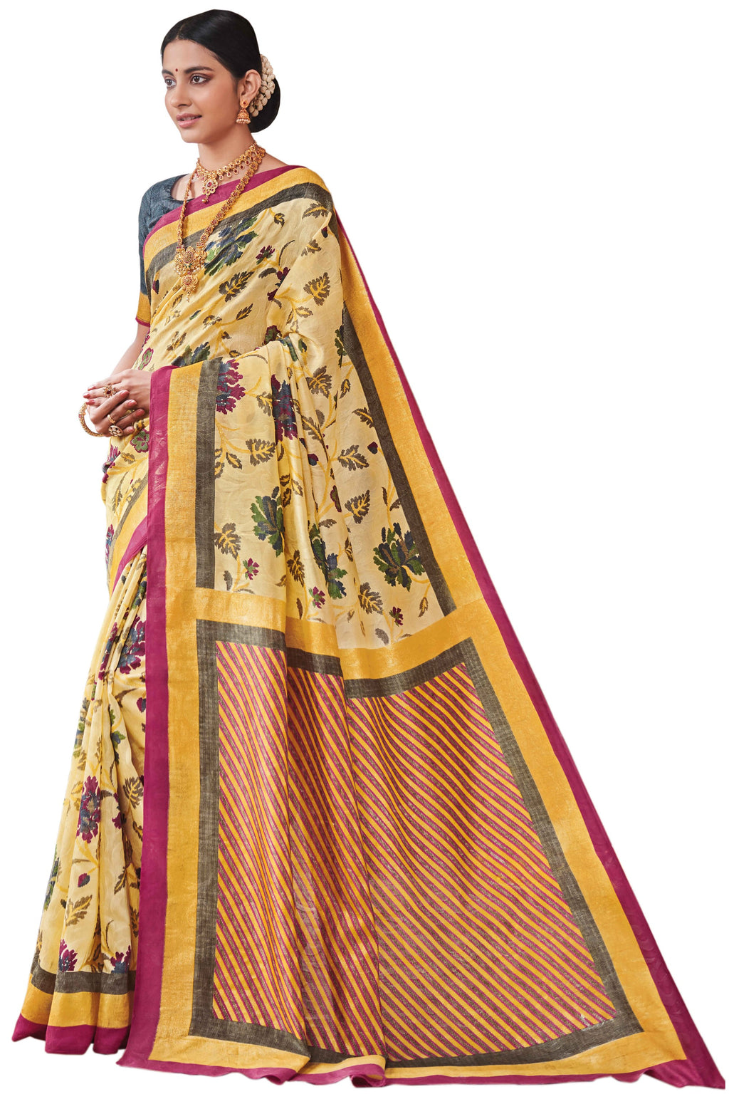 Light Yellow Color Bhagalpuri Festive & Party Wear Sarees NYF-8654