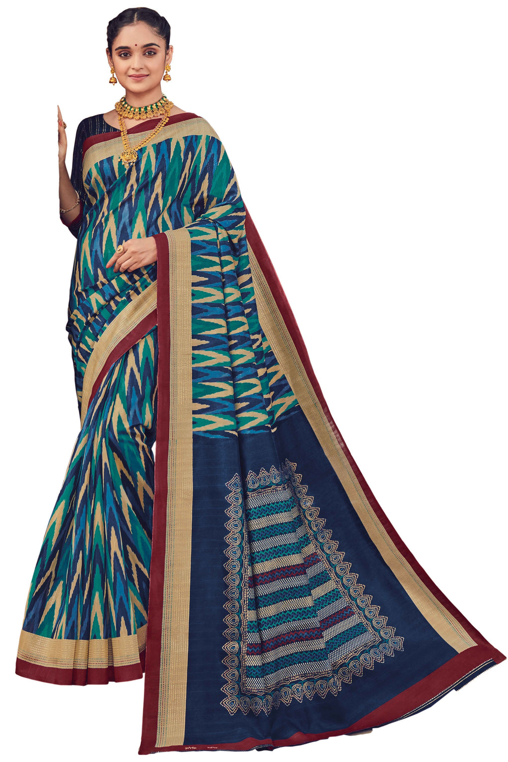 Blue Color Bhagalpuri Festive & Party Wear Sarees NYF-8655