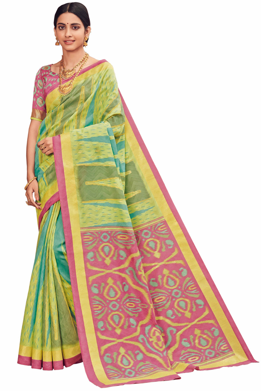Pastel Green & Pink Color Bhagalpuri Festive & Party Wear Sarees NYF-8657