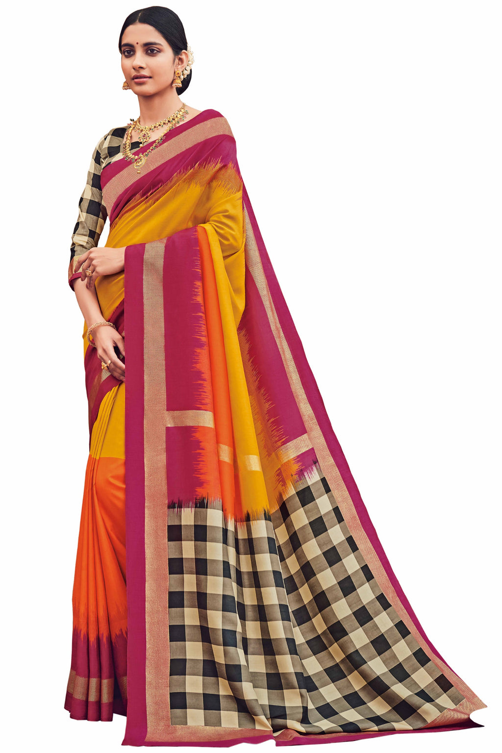 Yellow & Orange Color Bhagalpuri Festive & Party Wear Sarees NYF-8659