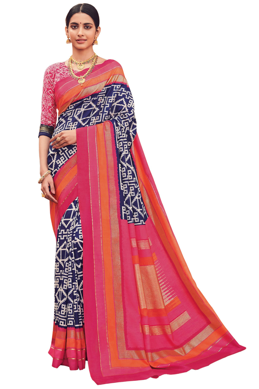 Blue & Pink Color Bhagalpuri Festive & Party Wear Sarees NYF-8661