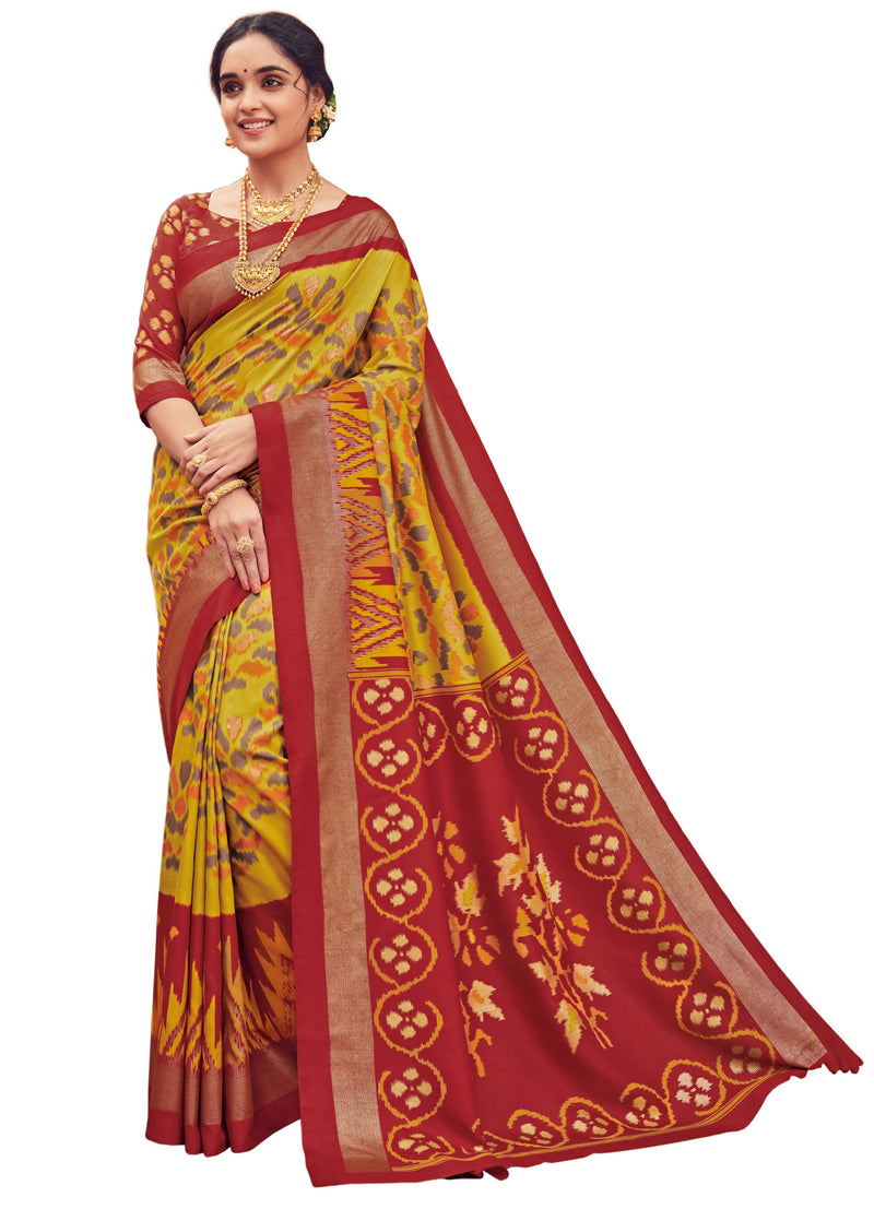 Yellow & Red Color Bhagalpuri Festive & Party Wear Sarees NYF-8662