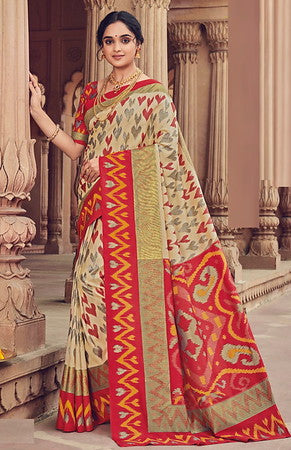 Cream and Red Color Bhagalpuri Silk Function wear Saree-Selvi Collection YF#10109